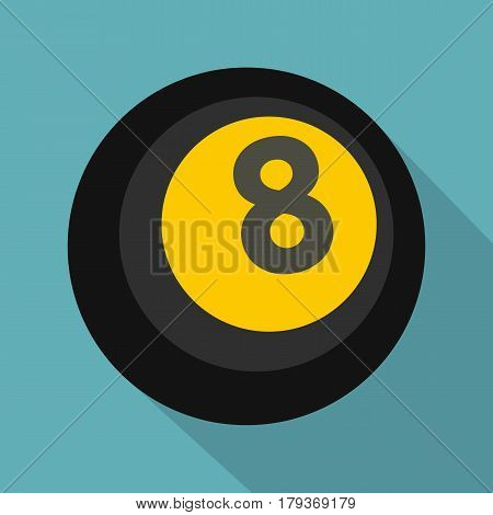 Black snooker eight pool icon. Flat illustration of black snooker eight pool vector icon for web isolated on baby blue background