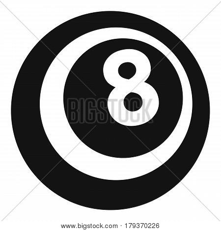 Black and white snooker eight pool icon. Simple illustration of black and white snooker eight pool vector icon for web