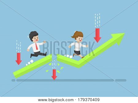 Business People Run To Top Of The Graph Through Risky Obstacle.