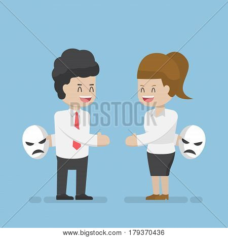 Businessman And Businesswoman Talking And Hiding Masks Of Real Emotion