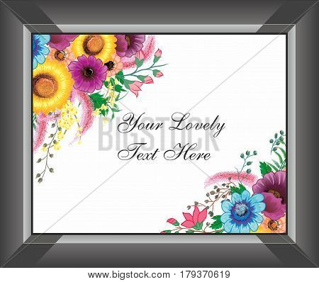 Beautiful Creative Flower Bouquet Art Work with Black Photo Frame