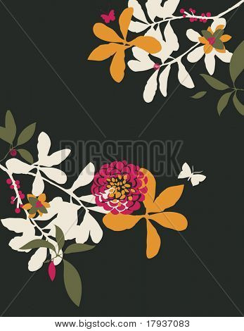Vector garden elements collection with flower, butterfly and plants.