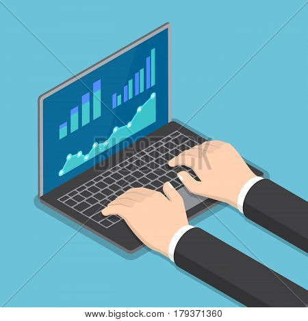 Isometric Businessman Hands Using Laptop With Financial Report Graph