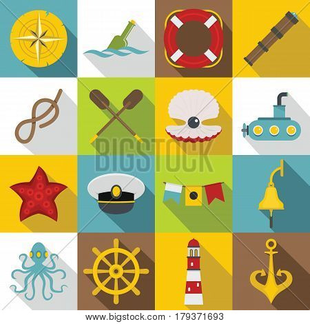 Nautical icons set. Flat illustration of 16 nautical vector icons for web