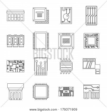 Computer chips icons set. Outline illustration of 16 computer chips vector icons for web