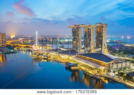 Singapore Skyline, View Of Singapore City At Night In Singapore And View Of Marina Bay