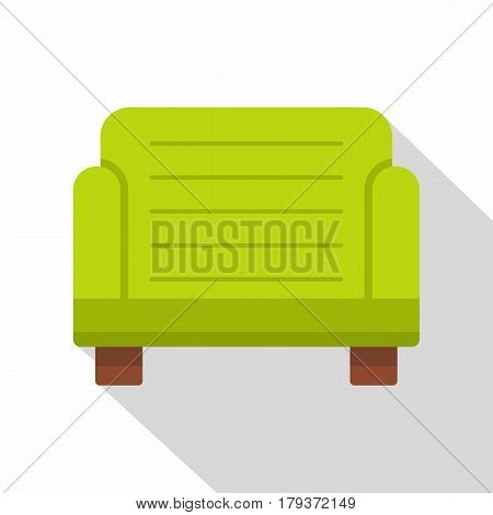 Green armchair icon. Flat illustration of green armchair vector icon for web isolated on white background