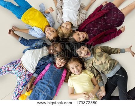 Happiness group of cute and adorable children lay down together