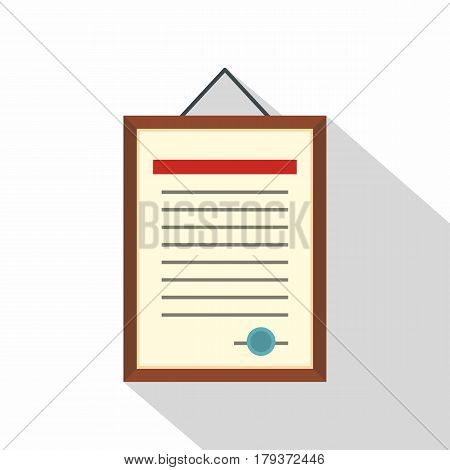 Framed certificate hanging on the wall icon. Flat illustration of framed certificate hanging on the wall vector icon for web isolated on white background