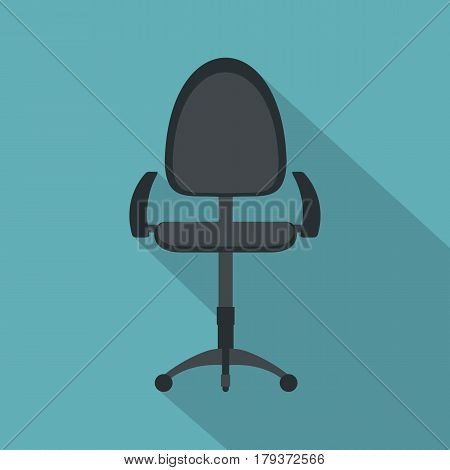 Black modern office chair icon. Flat illustration of black modern office chair vector icon for web isolated on baby blue background