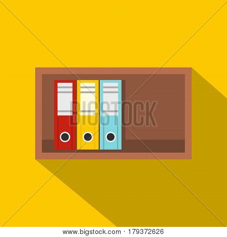 Colorful office folders on wooden shelf icon. Flat illustration of colorful office folders on wooden shelf vector icon for web isolated on yellow background