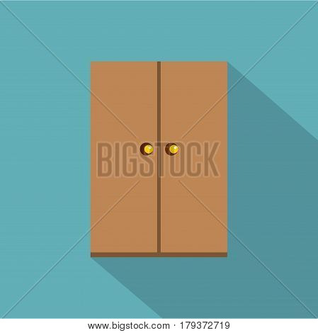 Wooden wardrobe icon. Flat illustration of wooden wardrobe vector icon for web isolated on baby blue background