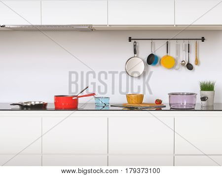 3d rendering kitchen cabinets with kitchen utensils