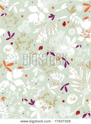 Vector seamless pattern displaying cute baby owls in a soft floral pattern.