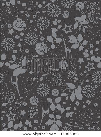 Vector Floral with children's graphics (Seamless Pattern) poster