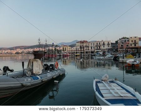 Rethymno, Greece - August  6, 2016: Boats In The Venetian Harbour.