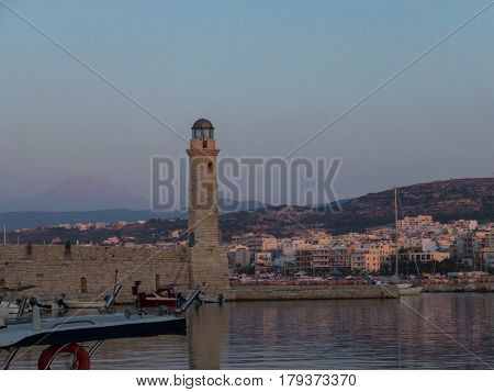 Rethymno, Greece - August  6, 2016:  The Egyptian Lighthouse In Venetian Harbour Of Rethymno At The