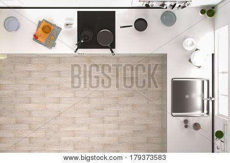 3d rendering kitchen interior top view with wooden floor
