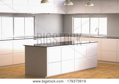 3d rendering empty kitchen cabinet with kitchen counter