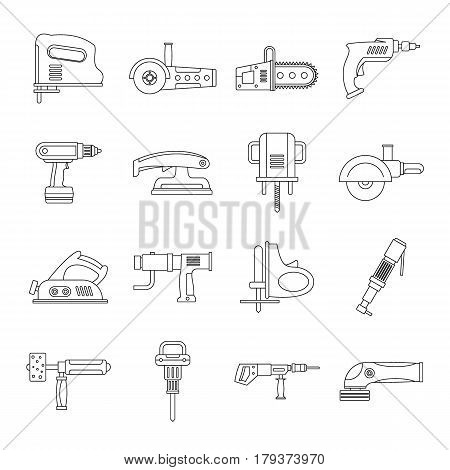 Electric tools icons set. Outline illustration of 16 electric tools vector icons for web
