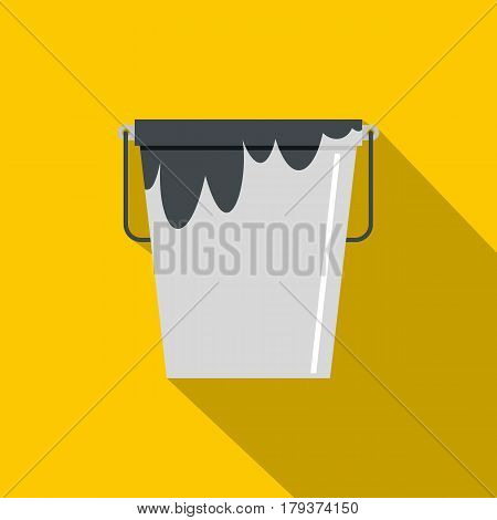 Bitumen emulsion in grey bucket icon. Flat illustration of bitumen emulsion in grey bucket vector icon for web isolated on yellow background