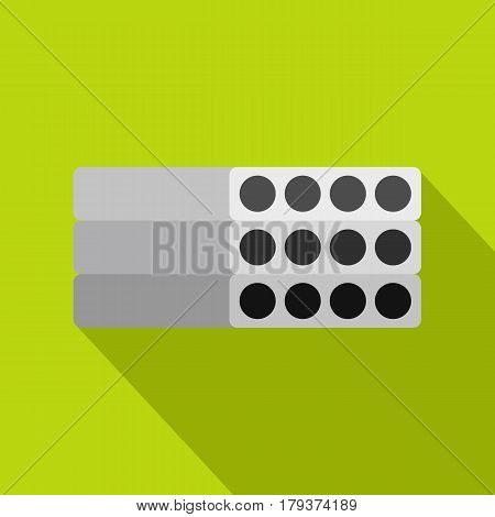 Stack of precast reinforced concrete slabs icon. Flat illustration of stack of precast reinforced concrete slabs vector icon for web isolated on lime background