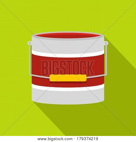 Red paint bucket icon. Flat illustration of red paint bucket vector icon for web isolated on lime background
