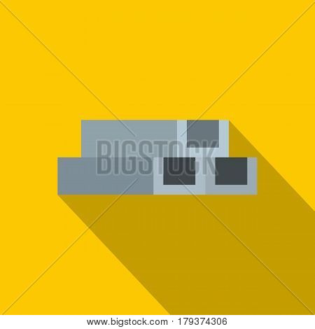 Concrete or metal constructions icon. Flat illustration of concrete or metal constructions vector icon for web isolated on yellow background