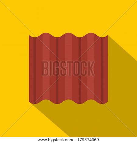 Steel colored goffered plate for roof icon. Flat illustration of steel colored goffered plate for roof vector icon for web isolated on yellow background