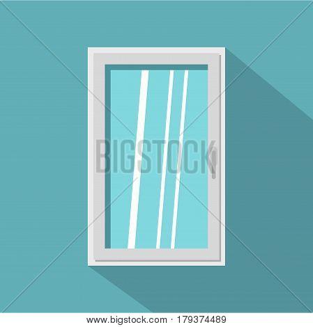 Closed white window icon. Flat illustration of closed white window vector icon for web isolated on baby blue background