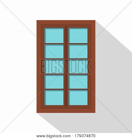 Wooden brown latticed window icon. Flat illustration of wooden brown latticed window vector icon for web isolated on white background