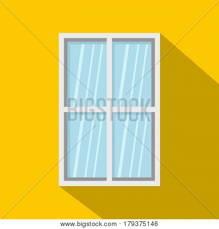 White rectangle window icon. Flat illustration of white rectangle window vector icon for web isolated on yellow background