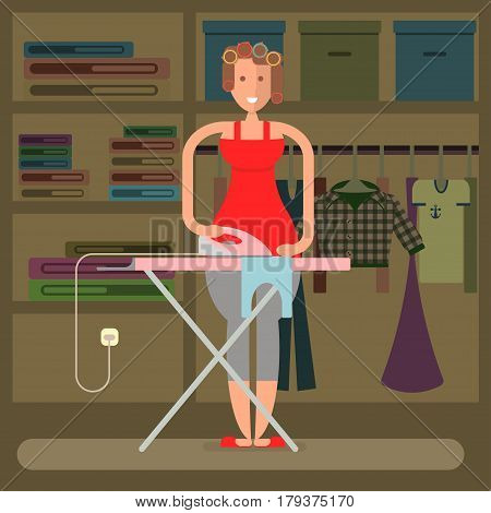 Housewife in funny cartoon style for infographic. Homemaker is ironing clean underclothes. Vector illustration eps 10