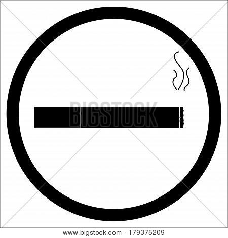 Sign zone smoke. Cigarette smoke place or area vector illustration