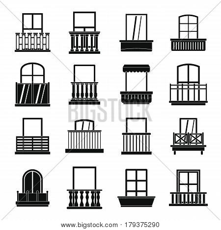 Window forms icons set balcony. Simple illustration of 16 window balcony forms vector icons for web