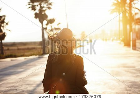 Unrecognizable Young Woman Outdoors Sightseeing In Foreign City During Vacations. Female Traveler Wa