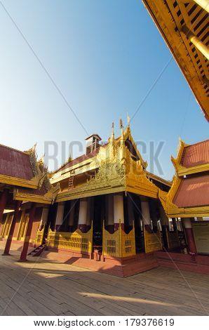view inside of Mandalay Palace in Mandalay city Myanmar