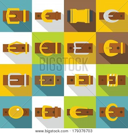Belt buckles icons set. Flat illustration of 16 belt buckles vector icons for web