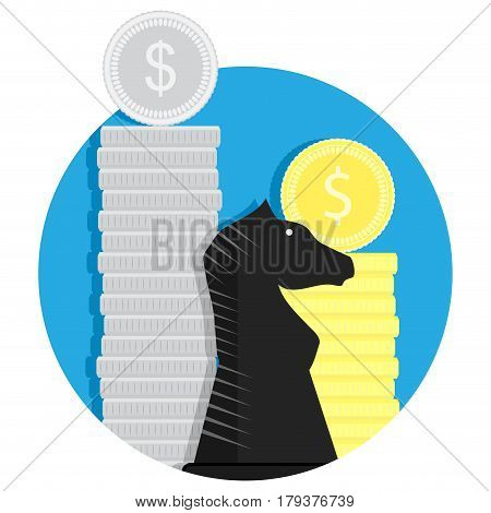 Finance strategy vector. Income strategy money result and factor organization illustration