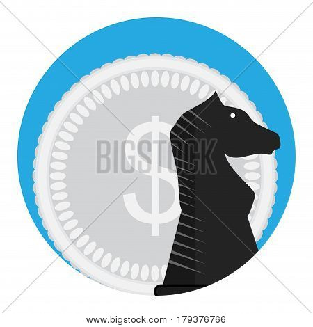 Money and chess horse. Investment financial banner vector illustration