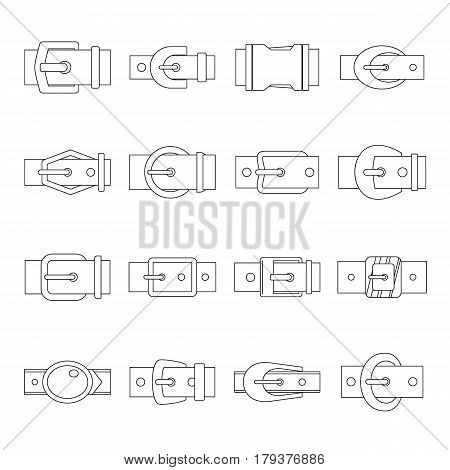 Belt buckles icons set. Outline illustration of 16 belt buckles vector icons for web