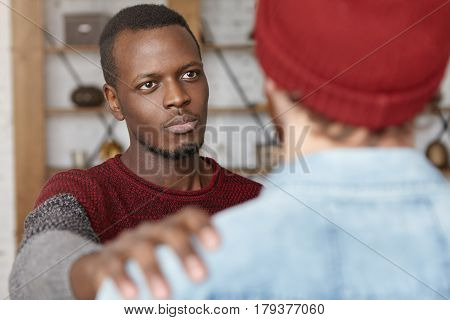 I'm Always Here For You. Indoor Shot Of Warm-hearted Young African American Man Showing Compassion T