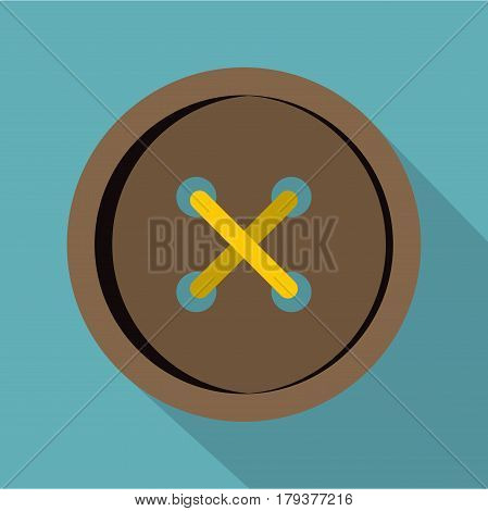 Brown clothing button icon. Flat illustration of brown clothing button vector icon for web isolated on baby blue background