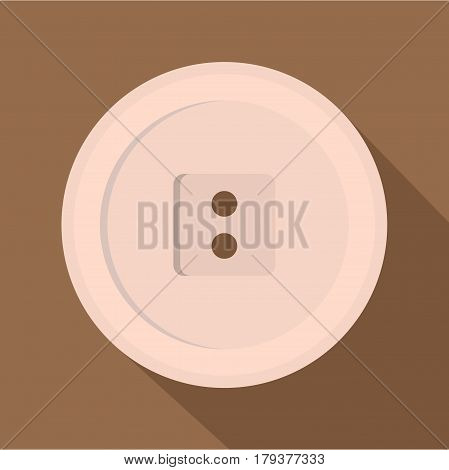 White sewing button icon. Flat illustration of white sewing button vector icon for web isolated on coffee background