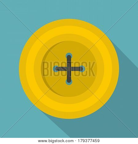Yellow round sewing button icon. Flat illustration of yellow round sewing button vector icon for web isolated on baby blue background