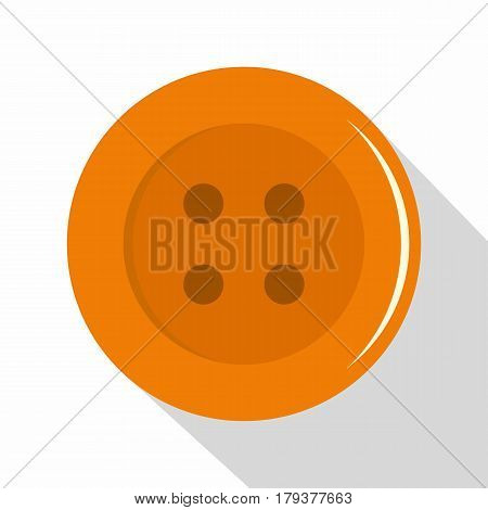 Orange sewing button icon. Flat illustration of orange sewing button vector icon for web isolated on white background