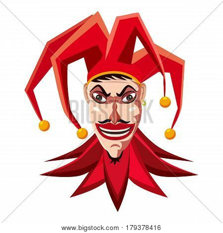 Jester in red hat icon. Cartoon illustration of jester in red hat vector icon for web