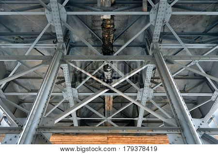 Old metal structure of columns and beams. Look up at the bridge construction.
