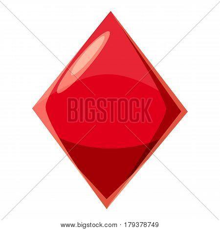 Diamond suit plying card icon. Cartoon illustration of diamond suit plying card vector icon for web