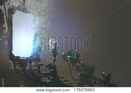 the astronaut walking out through futuristic portal sci-fi concept, illustration painting